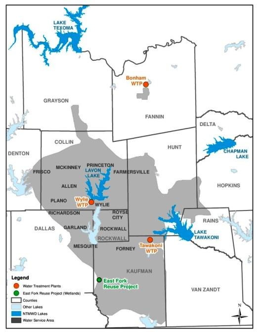 The North Texas Municipal Water District serves suburban and rural areas north and east of Dallas.