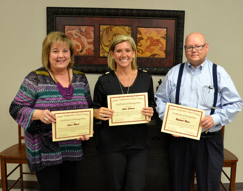 Cooper Elementary Principal Lynn Byrd, Junior High Principal Julie Silman and High School Principal Richard Roan were all honored at Monday night's Cooper ISD Board of Trustees meeting for Principal Appreciation Month.