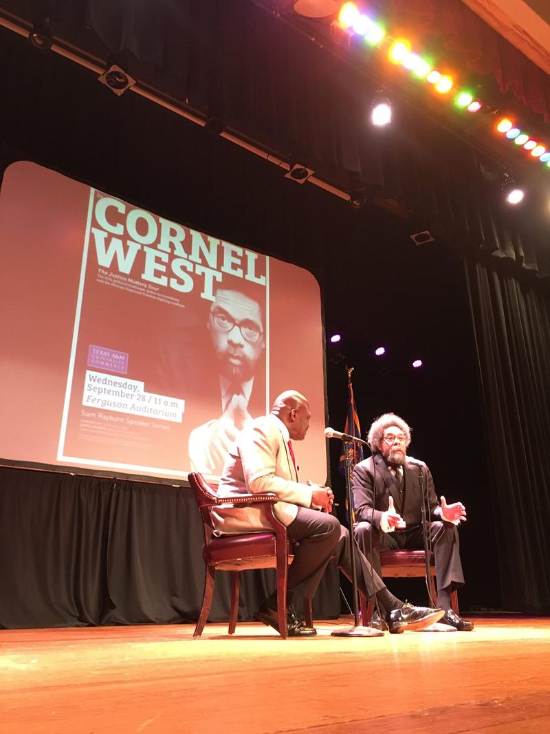 Cornel West, right, and Texas A&M University-Commerce Director of Media Relations Noah Nelson, left, on Sept. 28.