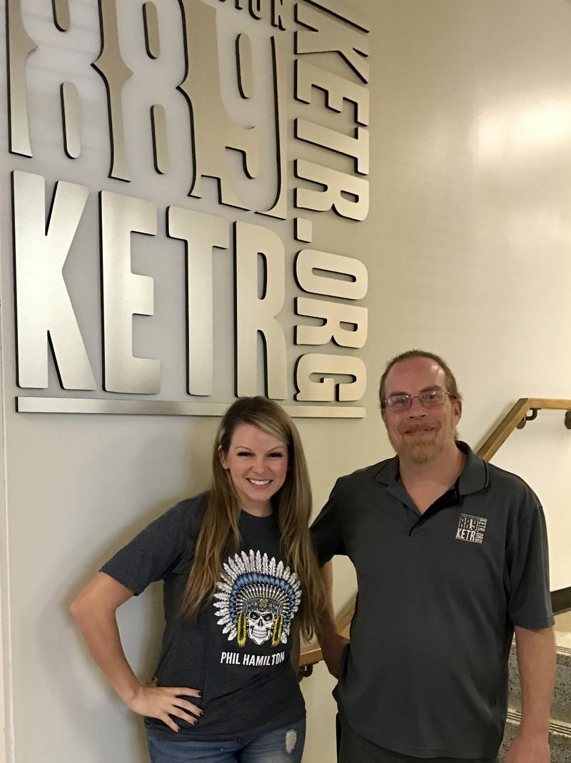 Sarah Hobbs (left) and Matt Meinke outside the KETR Studios.