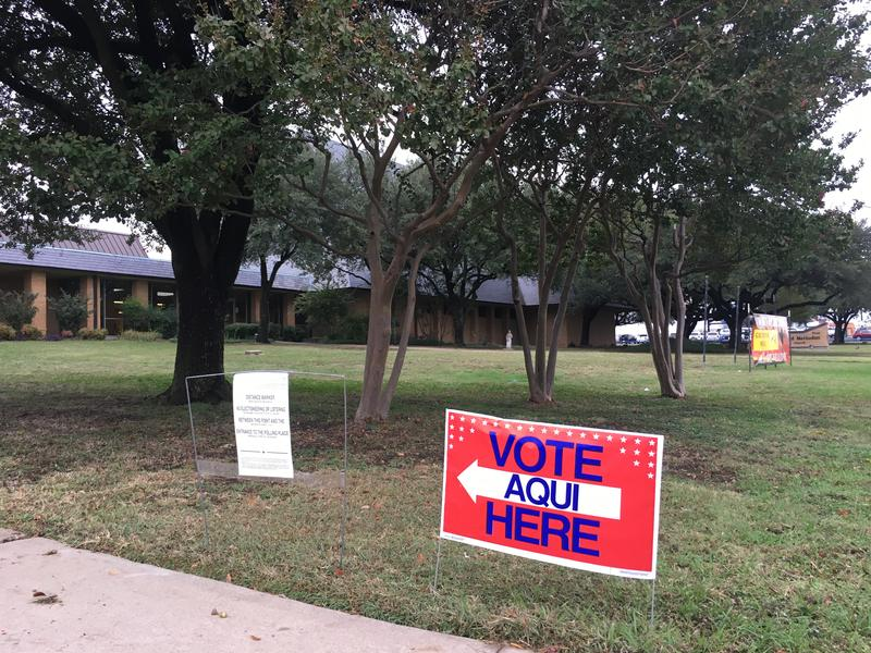 A sign indicating polling station in Commerce on Nov. 8, 2016.