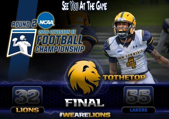 A&M-Commerce lost to Grand Valley State, 55-32.
