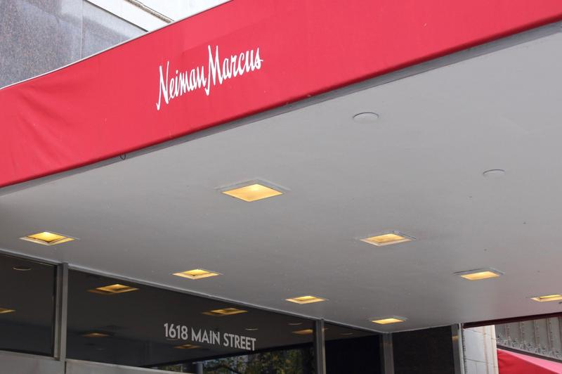 The flagship Neiman Marcus storefront in downtown Dallas, TX.