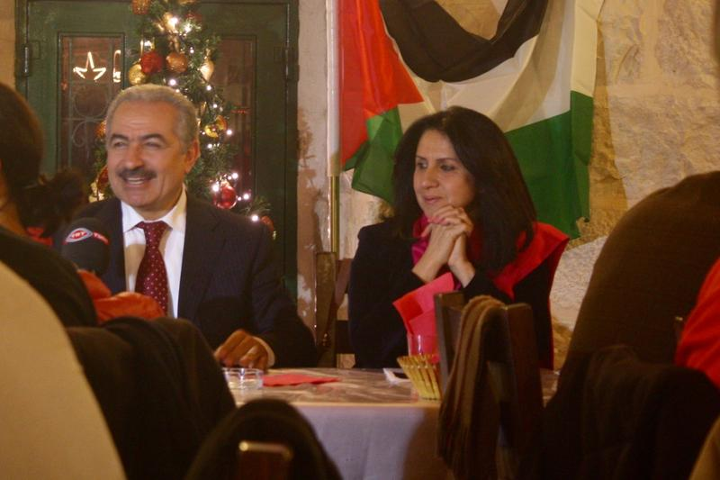 Mayor Vera Baboun attends a Christmas event hosted by the PLO.