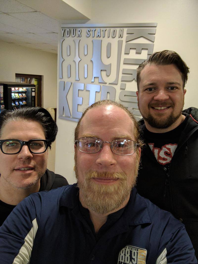 (Left to right) John Dufilho, Matt Meinke and Brandon Carr outside the KETR Studios.