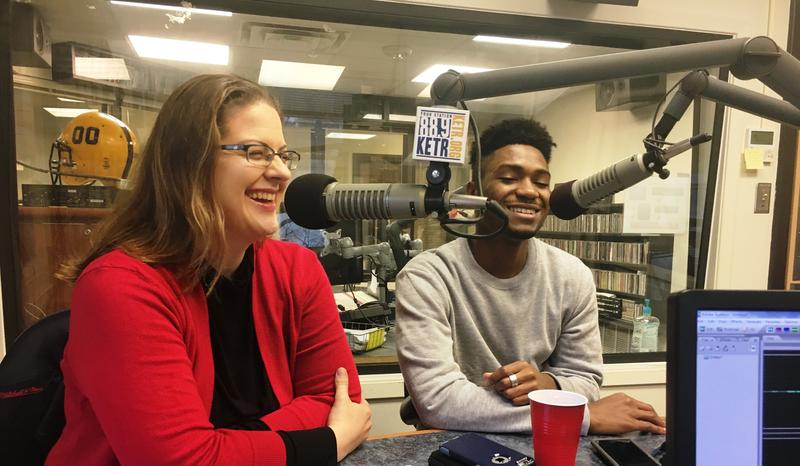 A&M-Commerce professor Jennifer Glidden and student Malik Heard discuss Heard's upcoming performance at the Jack Finney Concert Hall on campus.