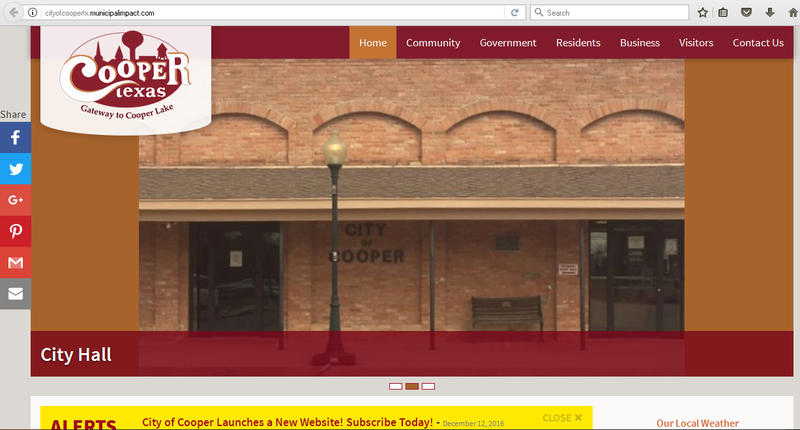 New website for the City of Cooper is http://cityofcoopertx.municipalimpact.com/