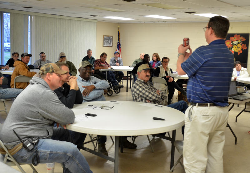 Mark Fox with the National Weather Service recently informed storm spotters during a Skywarn class in Cooper.