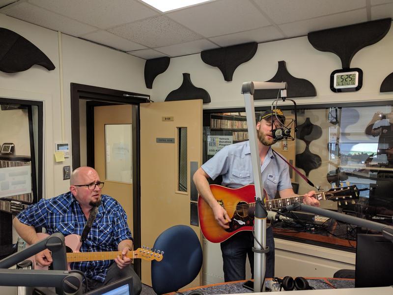 Guitarist John Shelton and Singer Charlie Harrison during an in-studio song recording.