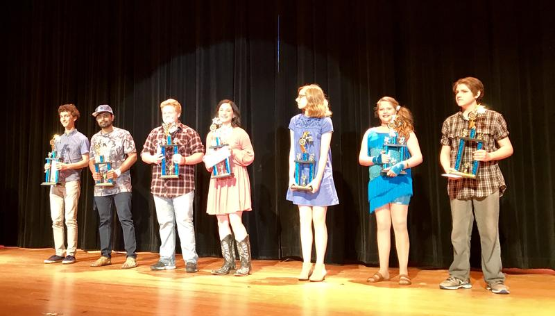 First- and second-place winners of Commerce Idol. L-R: Louis Raymond-Kolker, Vamsi Kalakuntla, Colton Davis, Jayla Demidio, Romy Cramer, Lauren Westhafer, and Michael McWhorter.