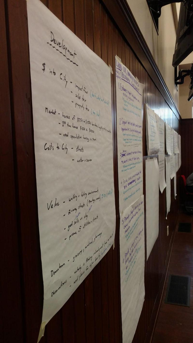 Notes on public input were on display on the walls of the Council Room Thursday evening.