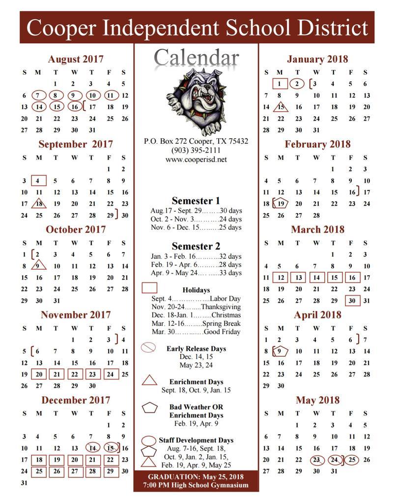 Cooper ISD 2017-2018 School Calendar