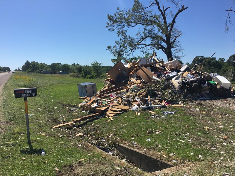 Several homes along U.S. Hwy. 69 in Rains County were damaged or destroyed.