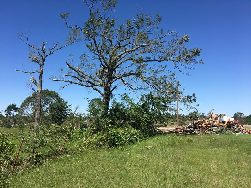 The tornado passed just east of the city limits of Emory.