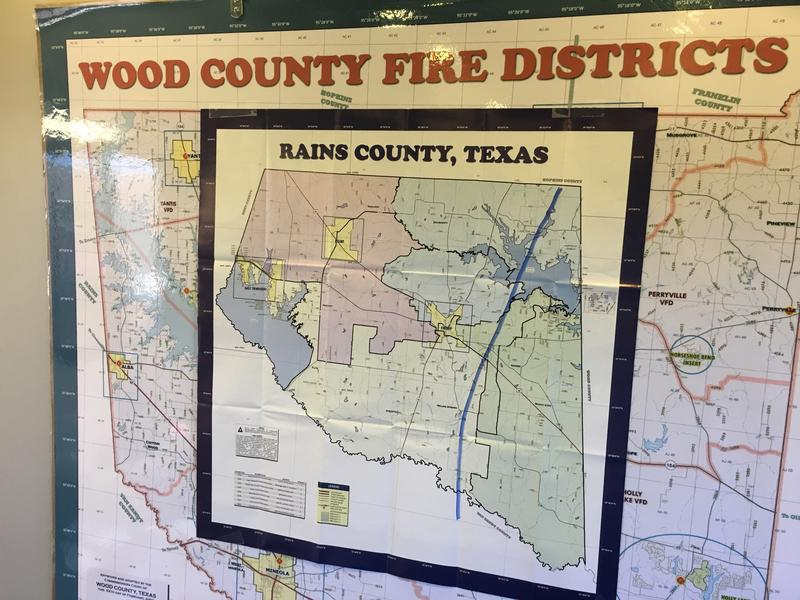 A map shows the path of the tornado through Rains County.