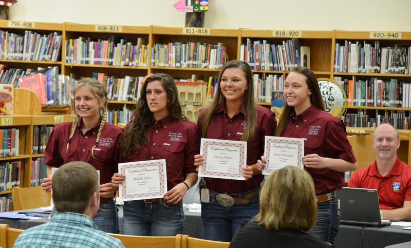 School Board recognized the FFA Ag Sales and Horse Judging teams.