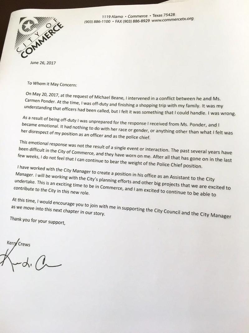 In his statement, Crews described becoming