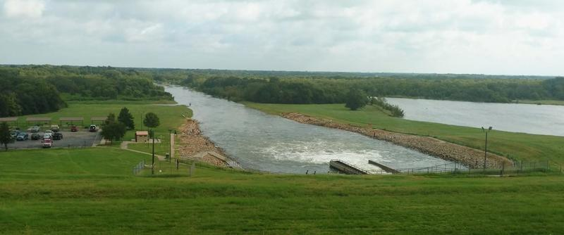 The spillway at Cooper Lake is releasing 2,729 cubic feet of water per second.