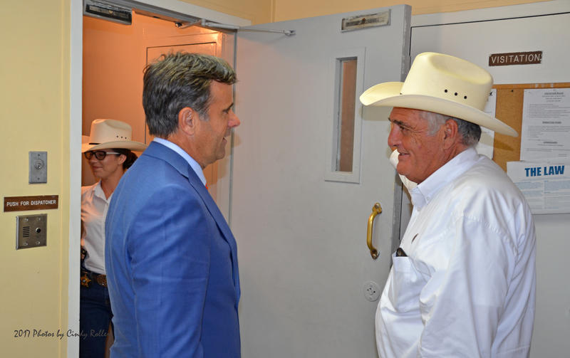 Delta County Sheriff Ricky Smith guides Congressman Ratcliffe through the jail.