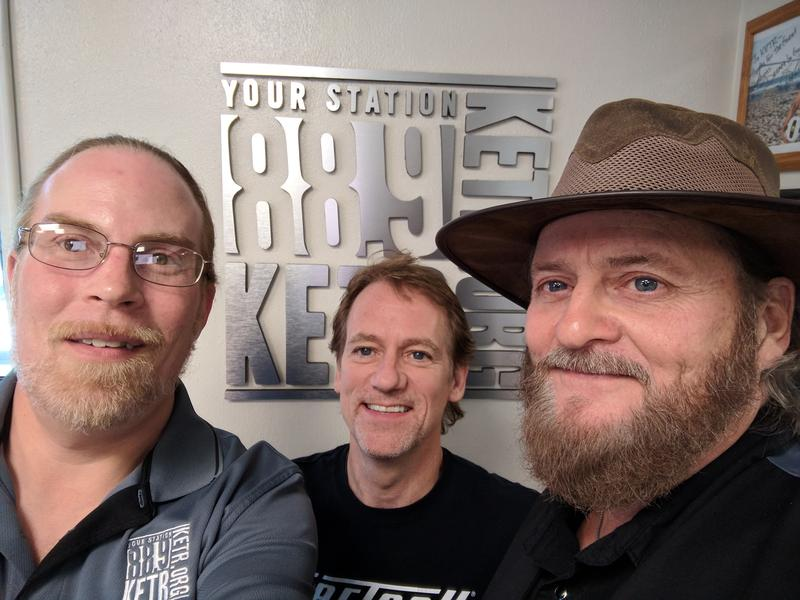 (Left to right) Matt Meinke, Brad Davis and Rickey Gene Wright in the KETR studios.