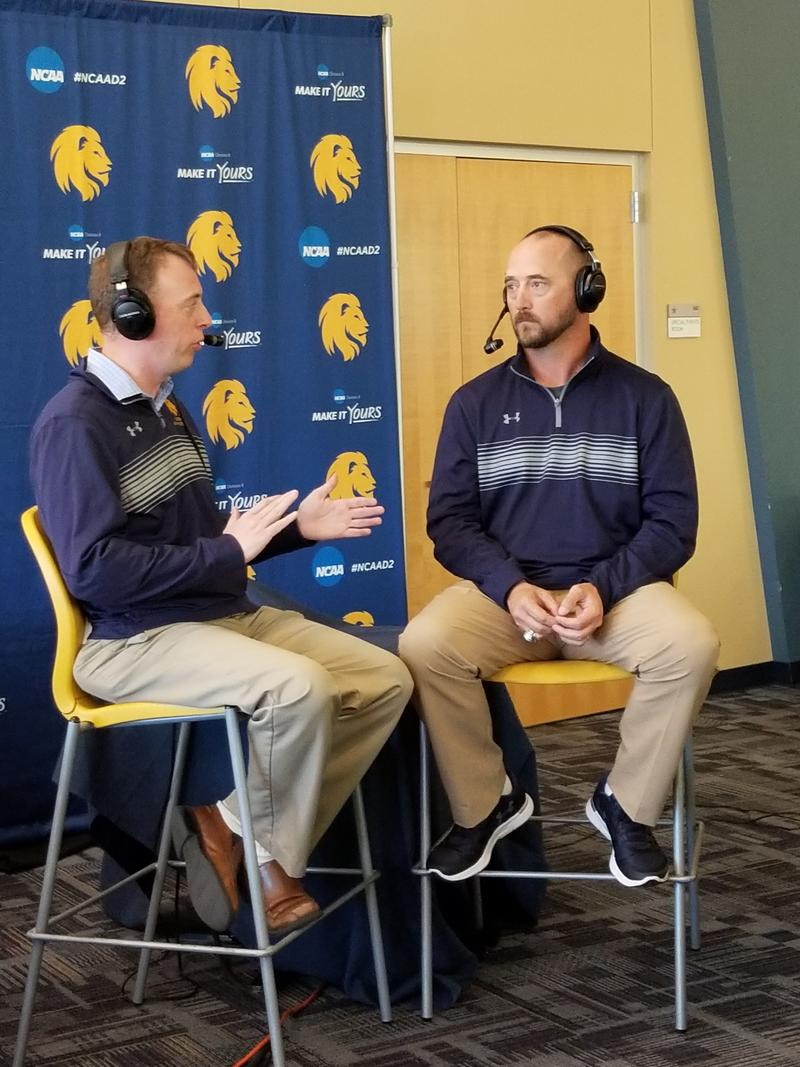 Josh Manck talks with Head Football Coach Colby Carthel about the Lions victory over Angelo State.