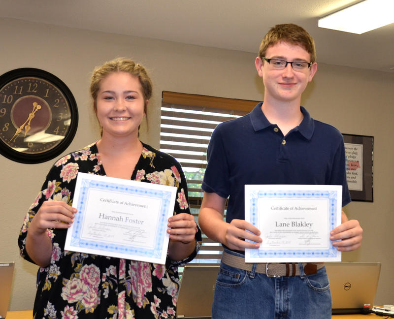Hannah Foster and Lane Blakley were honored by CISD Trustees for the Lonestar Leadership Academy.