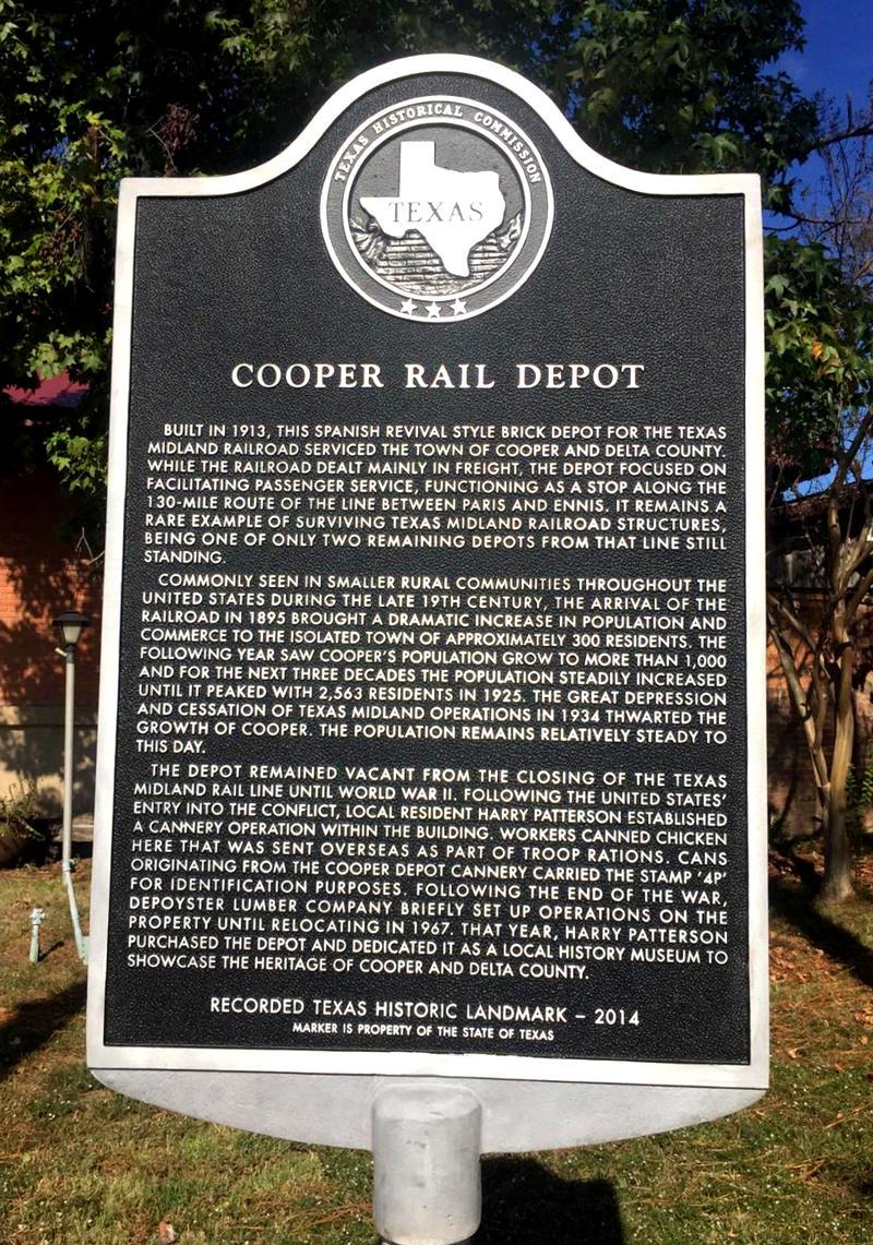 Cooper Rail Depot receives Historical Marker.