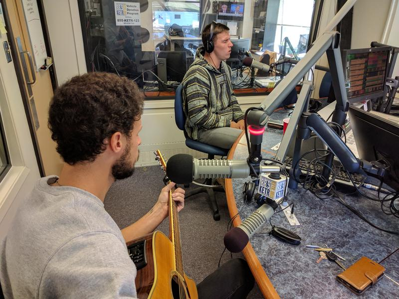Adam Fischer (left) and Hunter Glaske performing live at KETR.