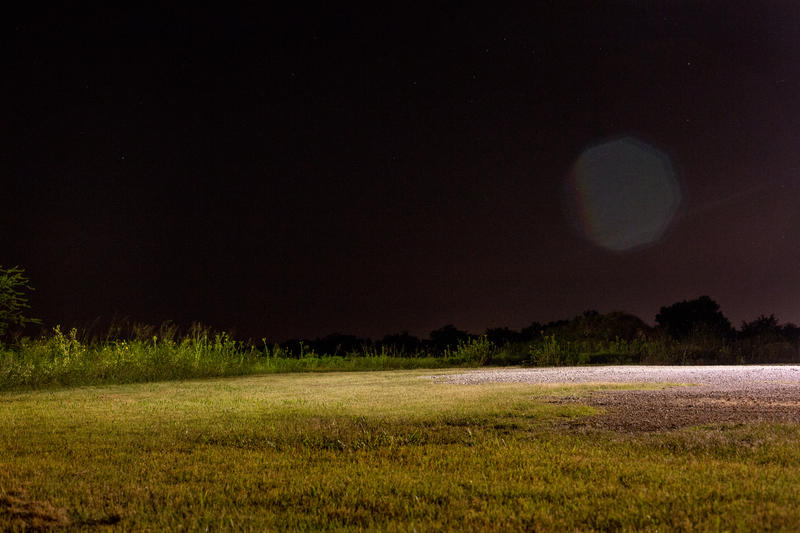 Night shot of property along state highway 276 in Quinlan, TX.