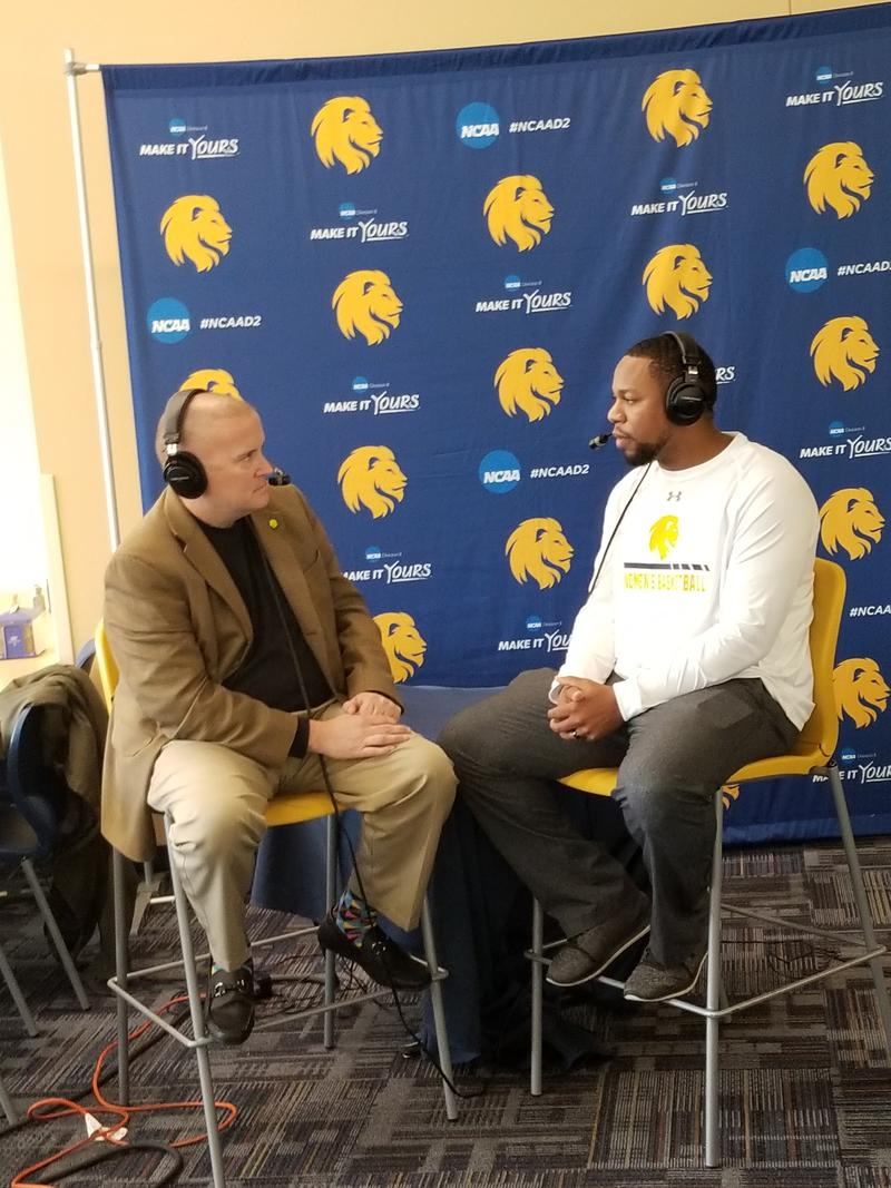 Tim McMurray gets a preview of Lions women's basketball with head coach Jason Burton.