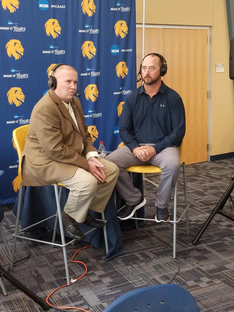 Tim McMurray discusses Lions football with head coach Colby Carthel.