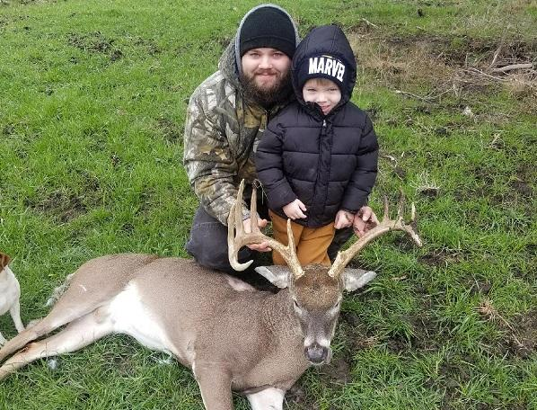 Kaylab Glasco (adult pictured) took his first buck in Hunt county a couple days ago. Kaylab is the son in law of noted outdoorsman/fishing guide David Hanson. Kaylab's son Rhyder is also pictured with his dad and his dad's first buck. A special time for a