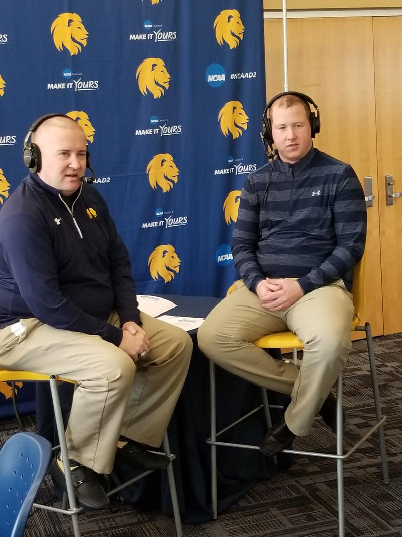 Tim McMurray talks with Men's Basketball Head Coach Jaret von Rosenberg about his team's undefeated start.