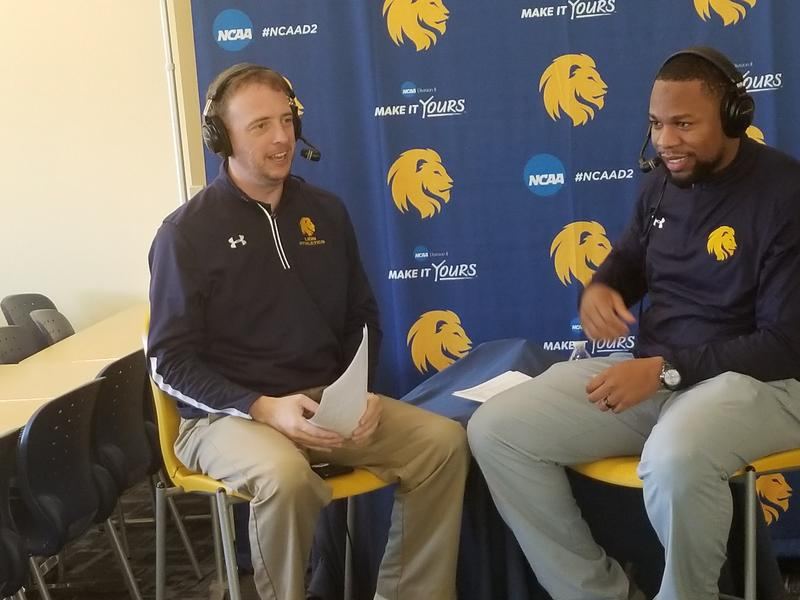 Josh Manck chats with Lions women's basketball head coach Jason Burton about the sweep of the New Mexico schools.