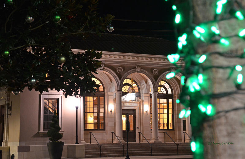 City Hall displays a beautiful Christmas tree in the front window.