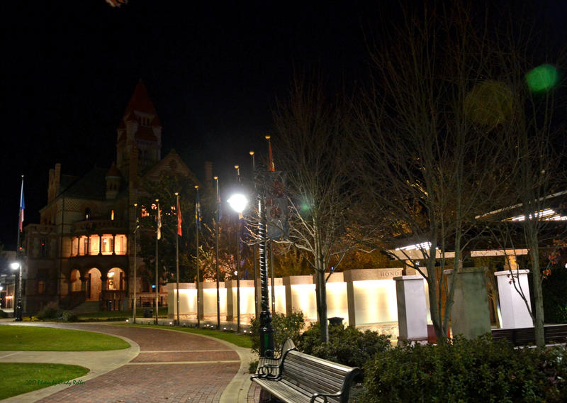 The Hopkins County Courthouse and Veterans Memorial before the added lighting.