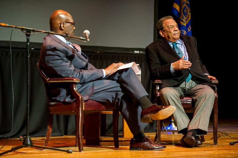 Texas A&M University-Commerce's Noah Nelson, left, with guest Andrew Young.