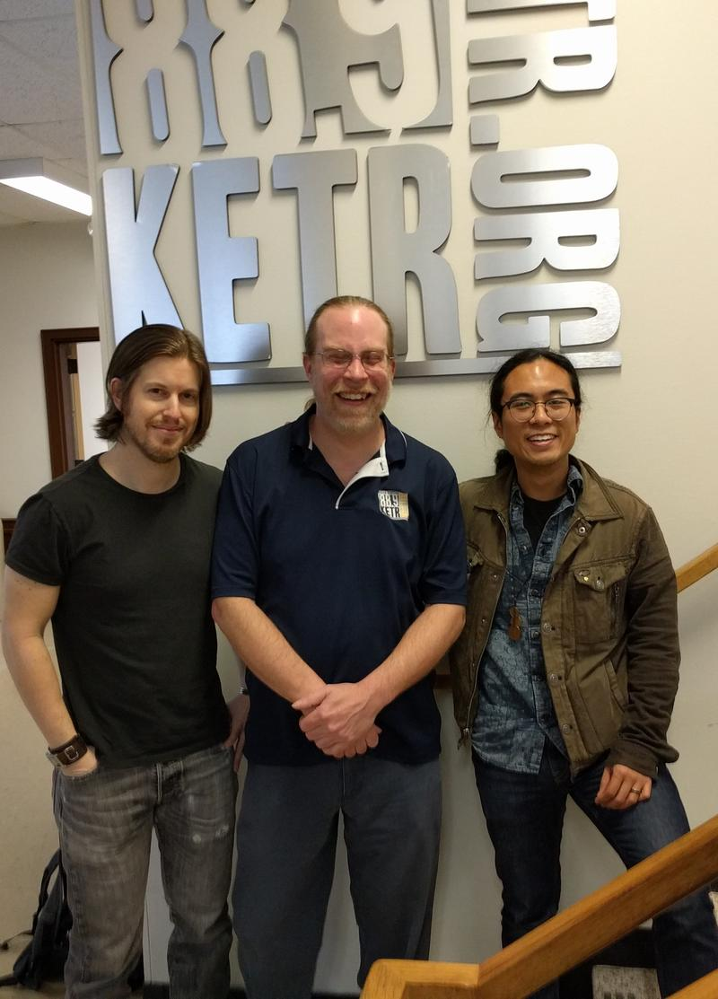 (Left to right) David, Meinke and Carlo outside the KETR Studios.