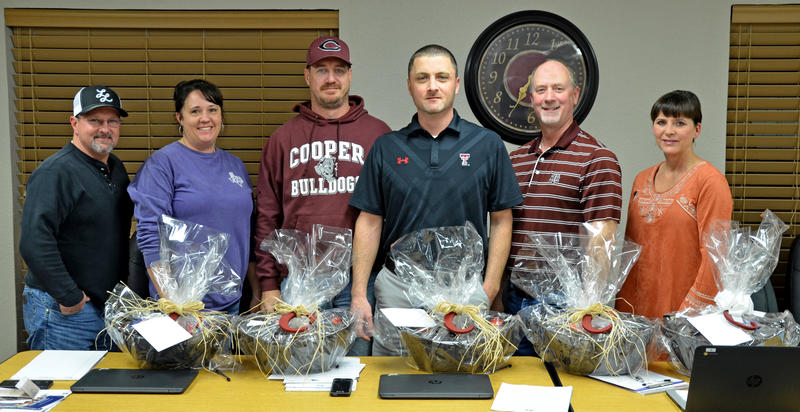 Cooper ISD Trustees Jeff Phifer, Mandy Freeman, Kregg Slakey, Blake Randle, Thomas Darden, and Lea Waller were given gift baskets for School Board Appreciation.