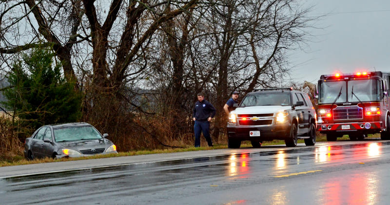 Motorists are encouraged to drive with caution as hydroplaning can easily occur as in this case on State Highway 19 Thursday morning.