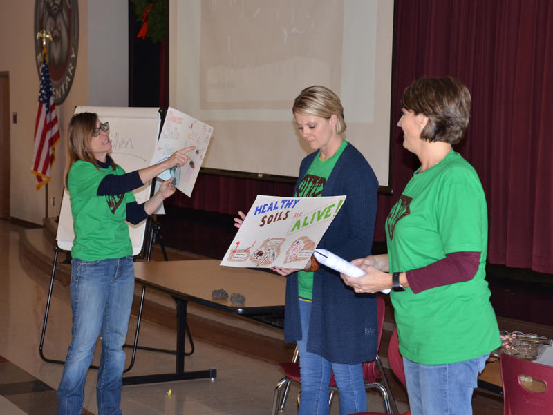 NRCS Earth Team Volunteer Jennifer Dwyer along with Cooper NRCS staff Hillary Murray and Kristi Oats talk about their poster contest and all fifth graders are invited to participate.