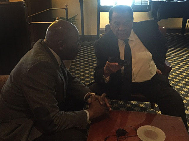 TAMUC VP Noah Nelson interviews Ambassador Andrew Young in Memphis, TN, on the 50th anniversary of the assassination of Dr. Martin Luther King, Jr.