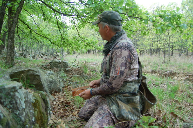Travis Benes, manager of the Choctaw Hunting Lodge (www.choctawhuntinglodge.com) setting up to call wild turkeys.