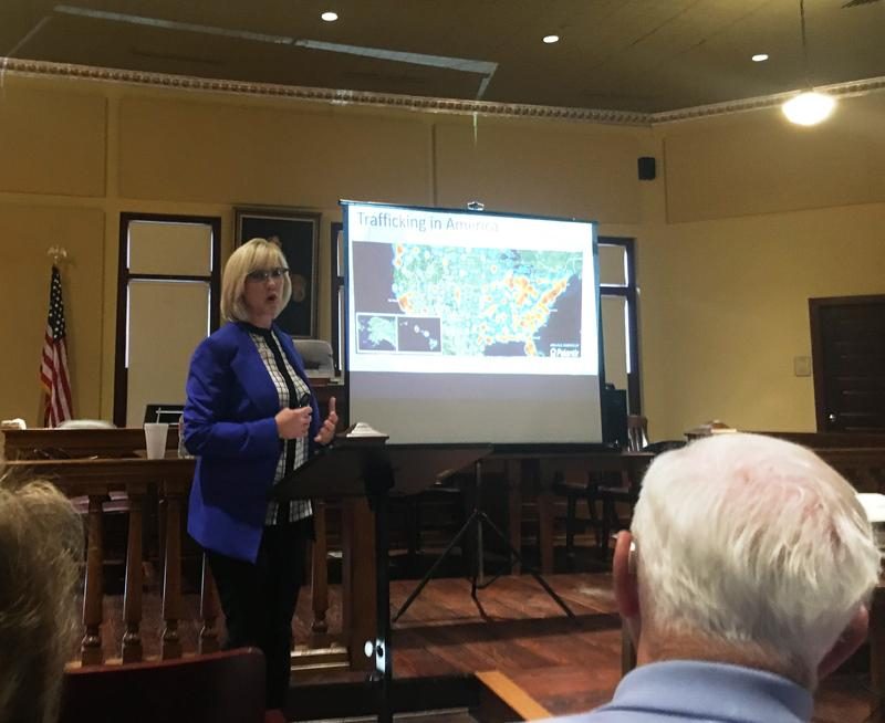 Reebcca Jowers, executive director of the Rockwall-based Poiema Foundation, addressed the public in Emory on the topic of human trafficking on May 21.