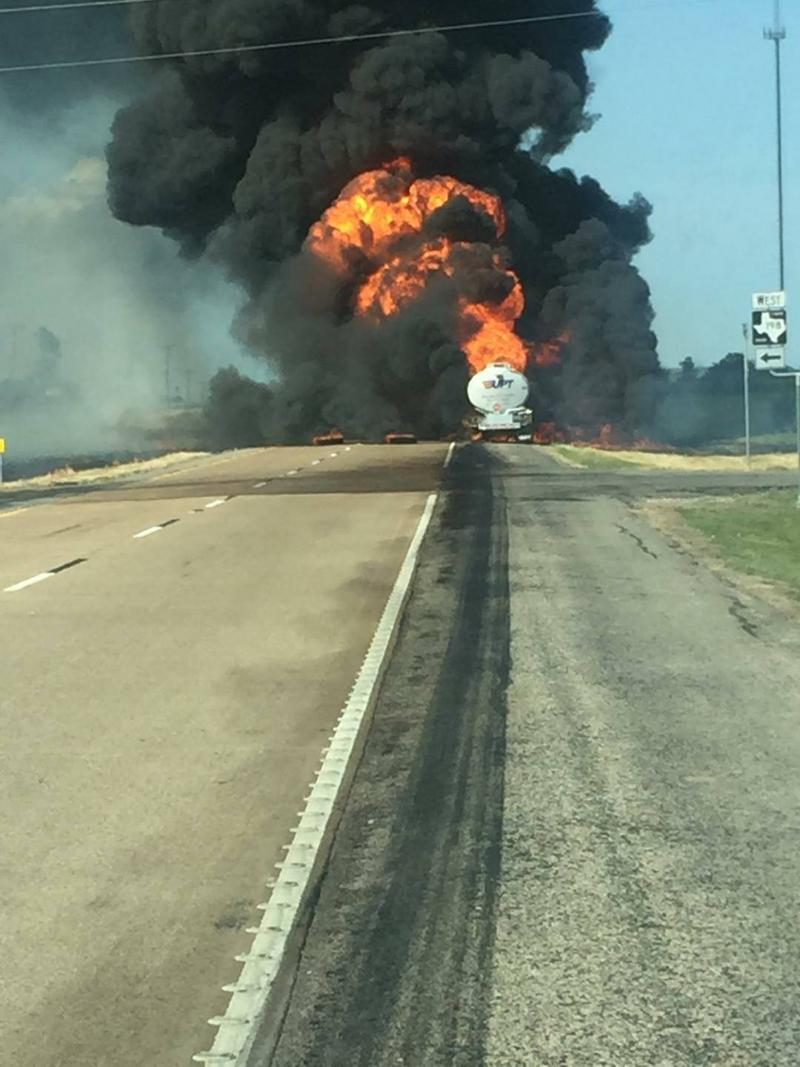 Flames darkened the Wednesday afternoon skies as the tanker fire blazed for three hours.