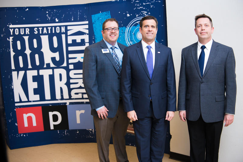 L-R: Jerrod Knight, Texas 4th Congressional District Representative John Ratcliffe, and Mark Haslett, KETR News Director.