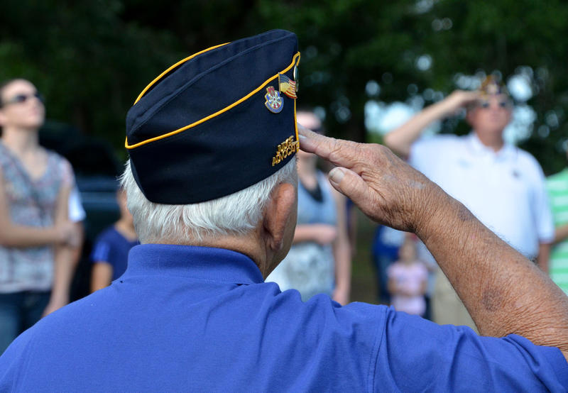 EJ Cates gives his salute at their annual honoring for Memorial Day.