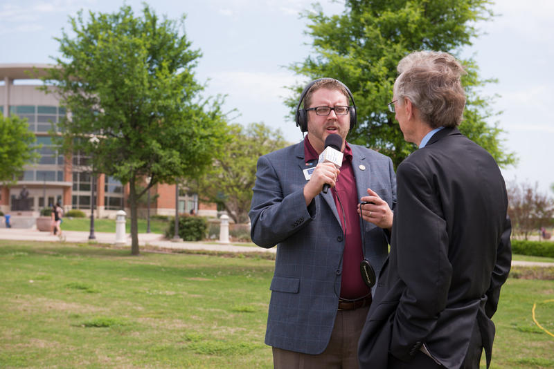 Jerrod Knight interviews former TAMUC president Dr. Dan Jones on April 7, 2015, a date marking 40 years on the air for 88.9 KETR.