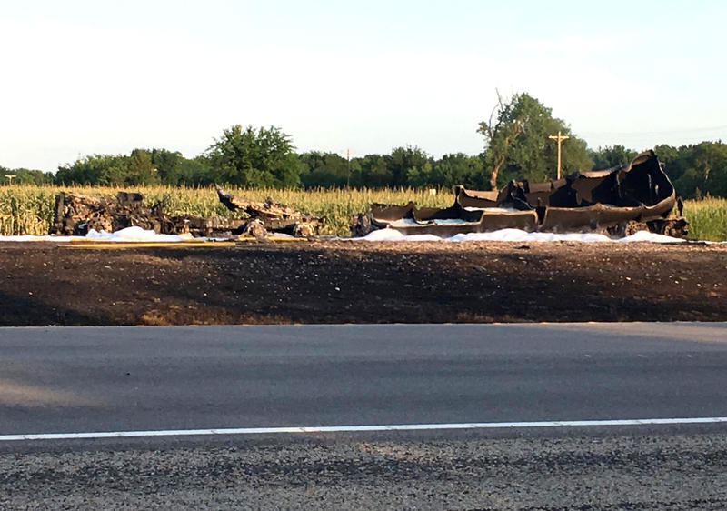The remains of the tanker caused TxDOT to detour SH 24 to one lane.