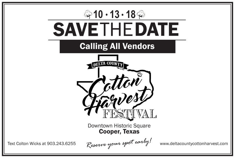 Vendors are urged to register early for a spot at the Cotton Harvest Festival.